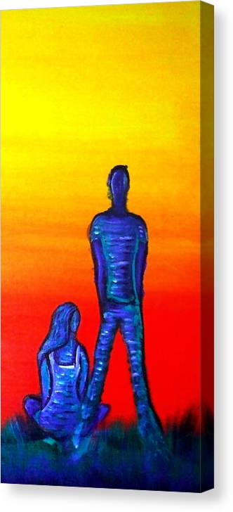 Couple Canvas Print featuring the painting Someone To Watch Over Me by Brenda Higginson