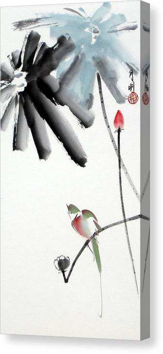 Chinese Painting Canvas Print featuring the painting Summer Pond by Ming Yeung