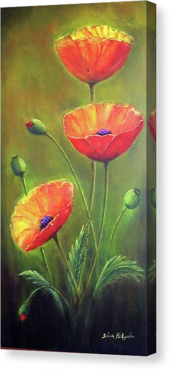 Poppies Canvas Print featuring the painting Three Poppies by Silvia Philippsohn