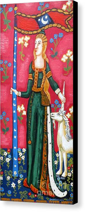 Unicorn Tapestries Canvas Print featuring the painting Lady And The Unicorn La Pointe by Genevieve Esson