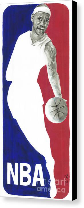 Lebron James Canvas Print featuring the painting Lebron Nba Logo by Tamir Barkan