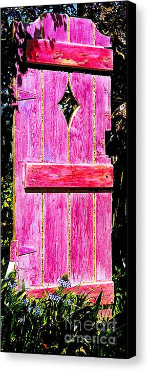 Painted Door Canvas Print featuring the sculpture Magenta Painted Door In Garden by Asha Carolyn Young and Daniel Furon