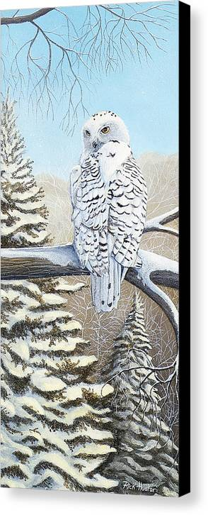 Rick Huotari Canvas Print featuring the painting Snowy Owl by Rick Huotari