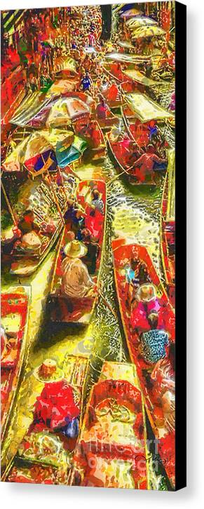 Water Market Canvas Print featuring the painting Water Market by Mo T
