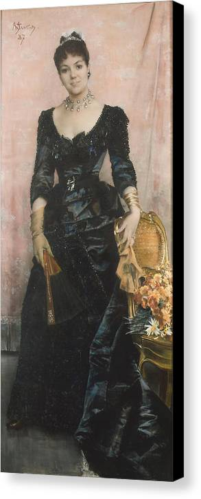 Alfred Stevens Canvas Print featuring the painting Portrait Of A Lady by MotionAge Designs