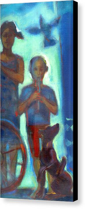Chidren Canvas Print featuring the painting Boy Playing Flute by Nato Gomes