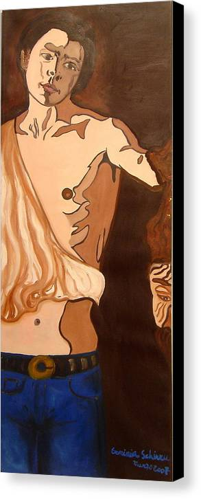 Figurative Canvas Print featuring the painting The Mask Man by Erminia Schirru