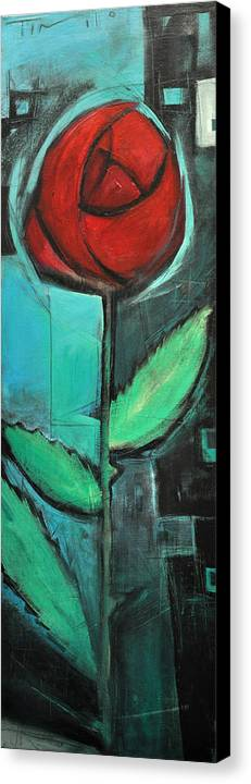 Rose Canvas Print featuring the painting City Rose - Few Noticed by Tim Nyberg