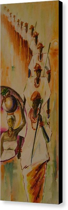 Canvas Print featuring the painting Procession by Alfred Awonuga