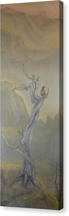 Bird Canvas Print featuring the painting Lone Sentinel by Dan Bozich