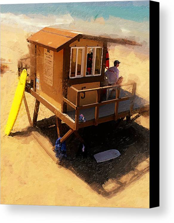 Lifeguard Station At San Clemente State Beach Canvas Print featuring the photograph The Ocean Guard by Ron Regalado