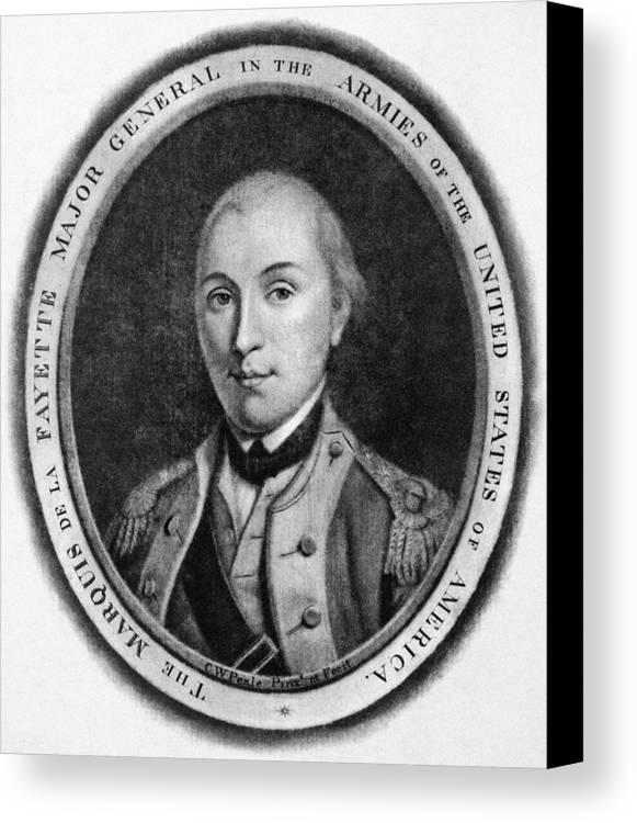 18th Century Canvas Print featuring the photograph Marquis De Lafayette by Granger