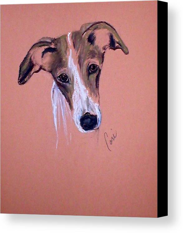 Whippet Canvas Print featuring the drawing All Ears by Cori Solomon