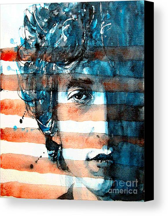 Bob Dylan Canvas Print featuring the painting An American Icon by Paul Lovering