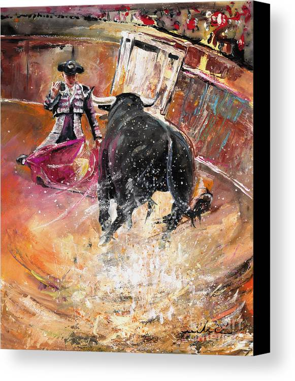 Bullfight Canvas Print featuring the painting Come If You Dare by Miki De Goodaboom