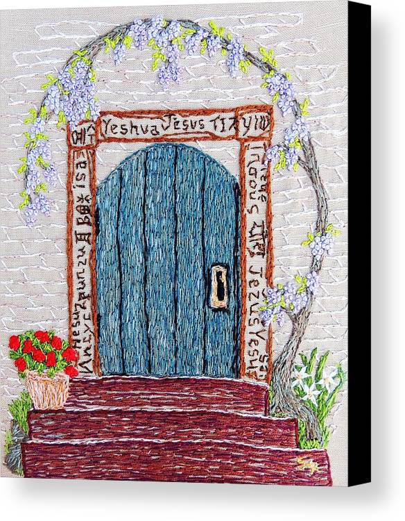 Door Canvas Print featuring the tapestry - textile Door With Many Languages by Stephanie Callsen