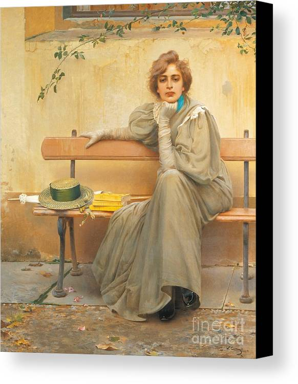 Painting; 19th Century Painting; States Of Mind; Europe; Italy; Corcos Vittorio Matteo; Clothing; Female Figure; Female Portrait; Pretty Canvas Print featuring the painting Dreams by Vittorio Matteo Corcos