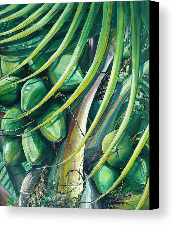 Coconut Painting Caribbean Painting Coconuts Caribbean Tropical Painting Palm Tree Painting  Green Botanical Painting Green Painting Canvas Print featuring the painting Green Coconuts 2 by Karin Dawn Kelshall- Best
