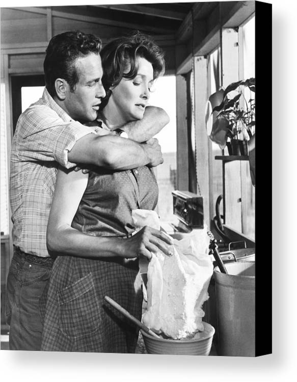 1960s Movies Canvas Print featuring the photograph Hud, From Left, Paul Newman, Patricia by Everett