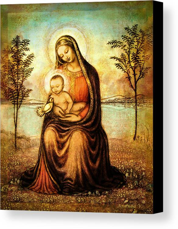 Madonna And Child Drawing Canvas Print featuring the mixed media Madonna With The Dove by Ananda Vdovic