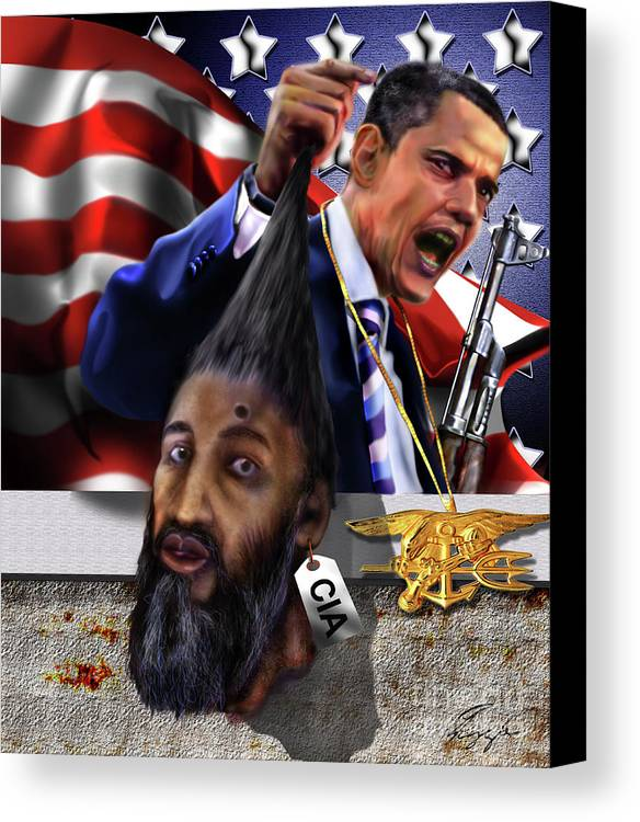 Osama Be Laden Canvas Print featuring the painting Manifestation Of Frustration - I Am Commander In Chief - Period - On My Watch - Me And My Boys 1-2 by Reggie Duffie