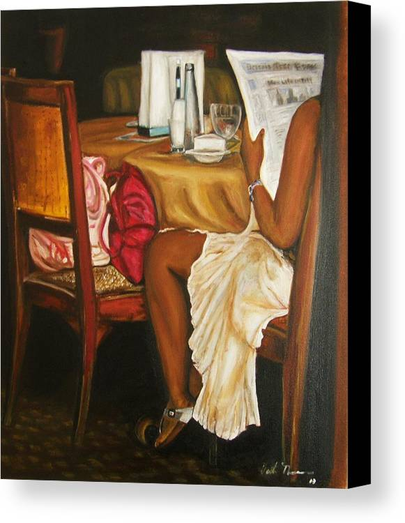 Cafe Canvas Print featuring the painting Me Time by Victor Thomason