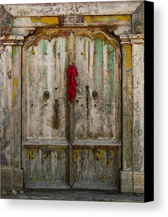 Door Canvas Print featuring the photograph Old Ristra Door by Kurt Van Wagner