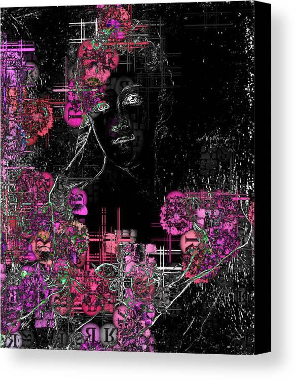 Black Digital Art Canvas Print featuring the digital art Portrait In Black - S01-02b by Variance Collections