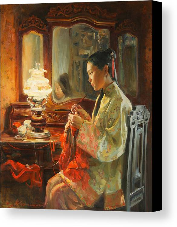 China Canvas Print featuring the painting Quiet Evening by Victoria Kharchenko