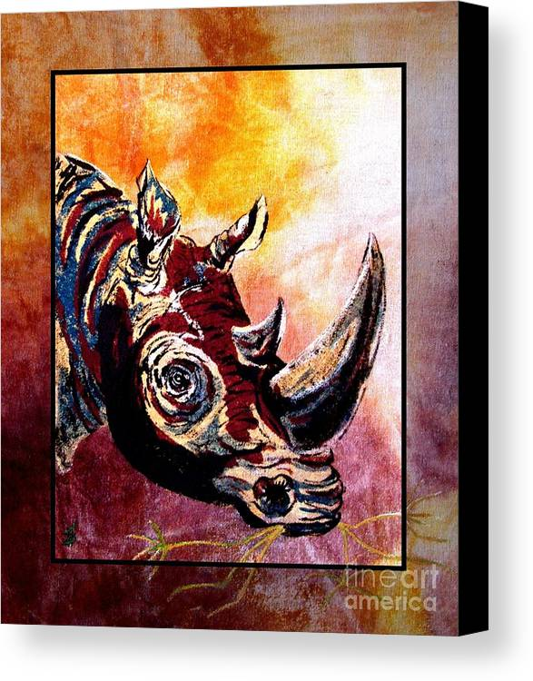 Rhino Painting Canvas Print featuring the painting Save The Rhino by Sylvie Heasman
