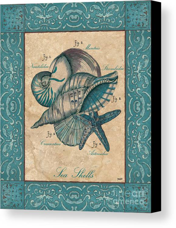 Coastal Canvas Print featuring the painting Scientific Drawing by Debbie DeWitt