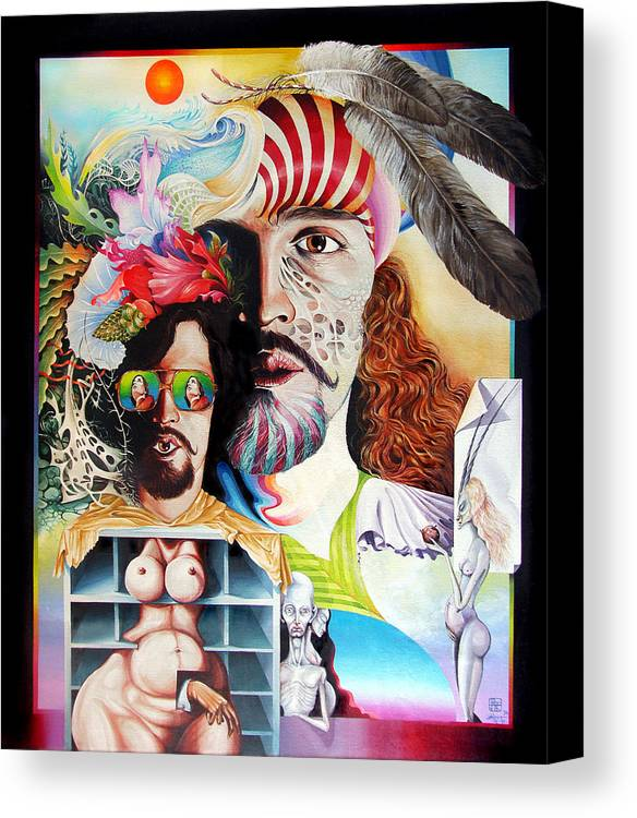 Surrealism Canvas Print featuring the painting Selfportrait With The Critical Eye by Otto Rapp