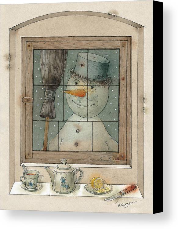 Snowman Winter Tea Breakfast Christmas Holiday Canvas Print featuring the painting Snowman by Kestutis Kasparavicius