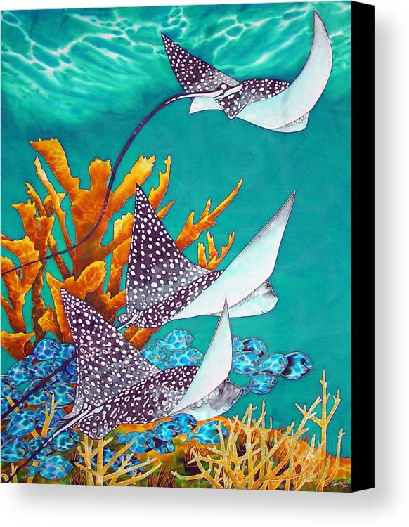 Eagle Ray Canvas Print featuring the painting Under The Bahamian Sea by Daniel Jean-Baptiste