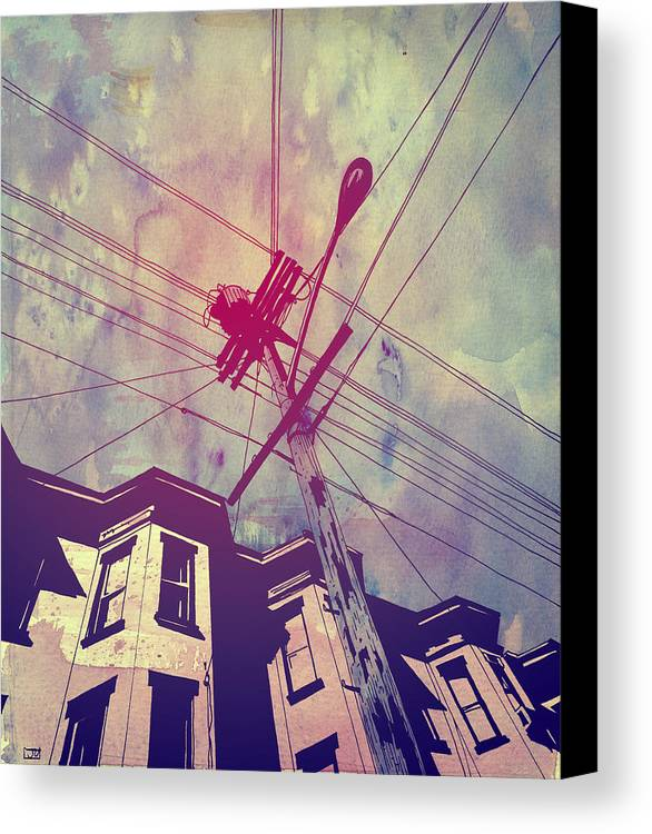 Giuseppe Cristiano Canvas Print featuring the drawing Wires by Giuseppe Cristiano