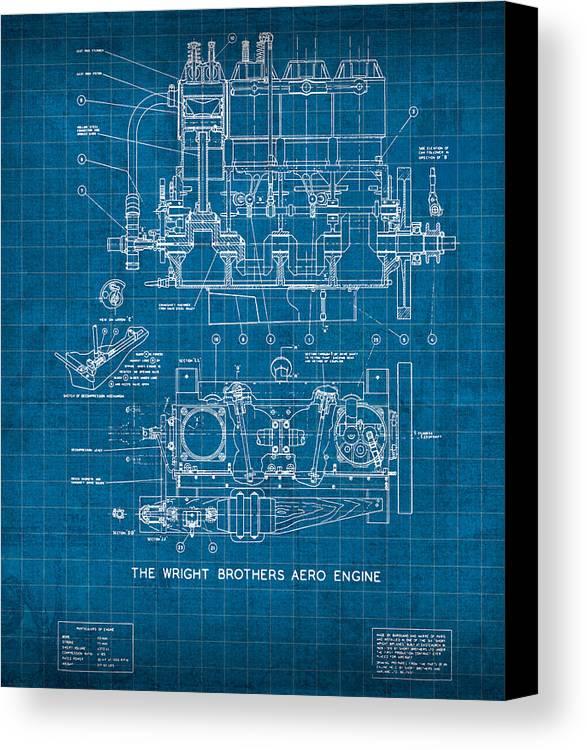 Wright brothers aero engine vintage patent blueprint canvas print wright canvas print featuring the mixed media wright brothers aero engine vintage patent blueprint by design malvernweather Images