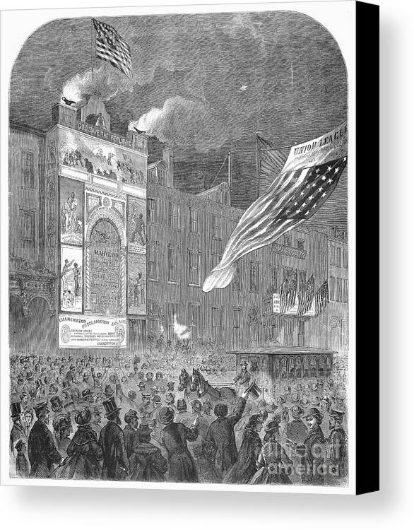1864 Canvas Print featuring the photograph Abolition Of Slavery, 1864 by Granger