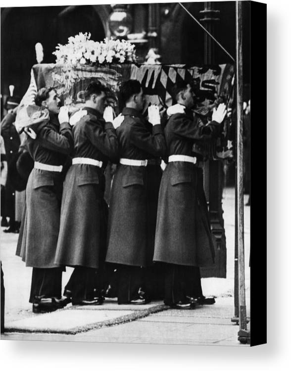 1950s Canvas Print featuring the photograph British Royalty. Funeral Of British by Everett