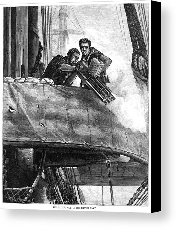 1878 Canvas Print featuring the photograph Gatling Gun, 1878 by Granger
