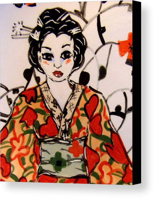 Art Canvas Print featuring the ceramic art Geisha In Training by Patricia Lazar