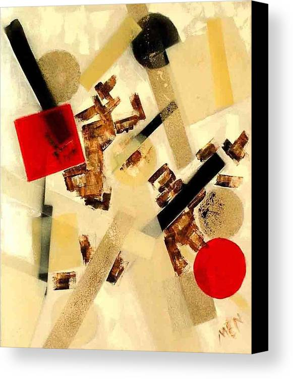 Abstract Canvas Print featuring the painting 2 Red Objects by Evguenia Men