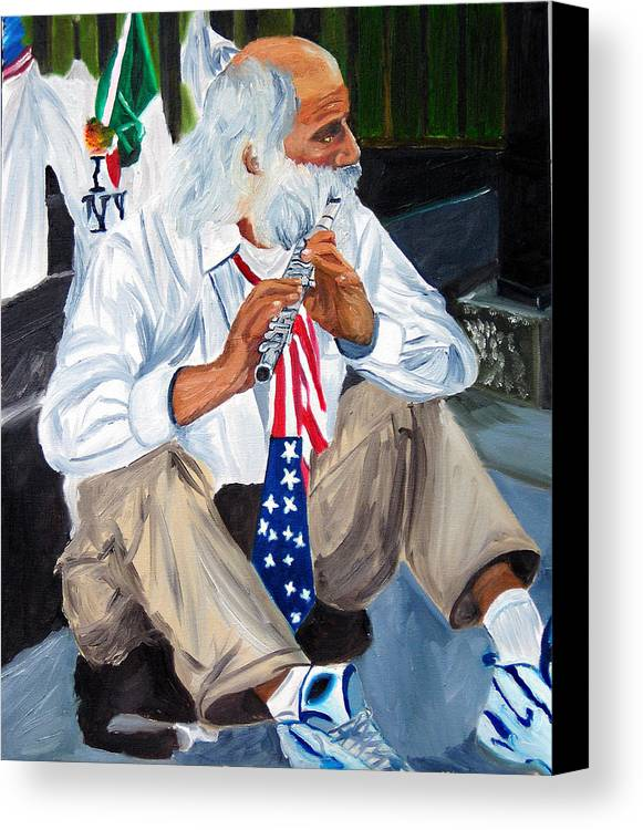 Street Musician Canvas Print featuring the painting 911 Tribute by Michael Lee