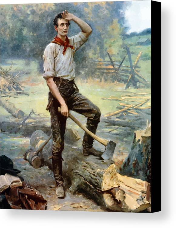 Abraham Lincoln Canvas Print featuring the painting Abe Lincoln The Rail Splitter by War Is Hell Store