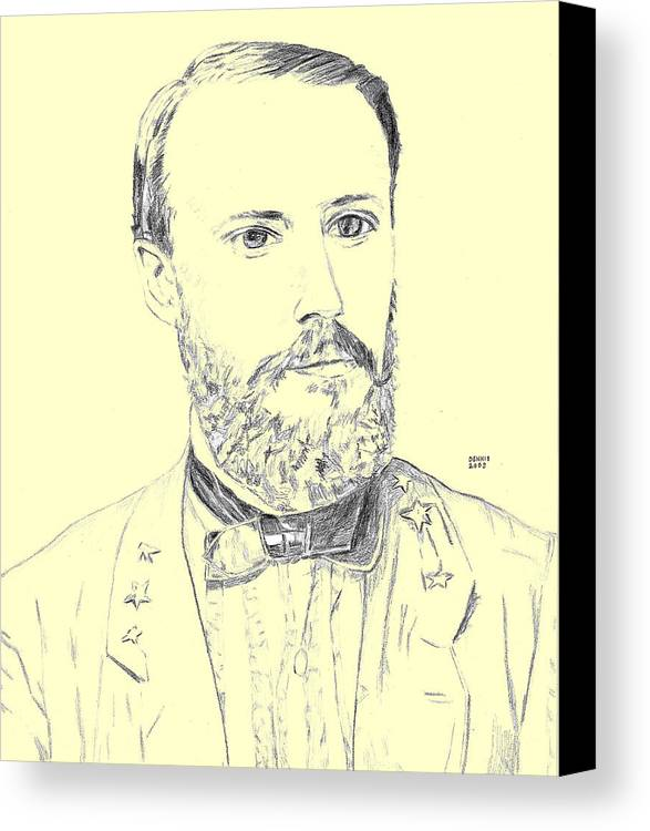 Edward P Alexander Canvas Print featuring the drawing Alexander by Dennis Larson
