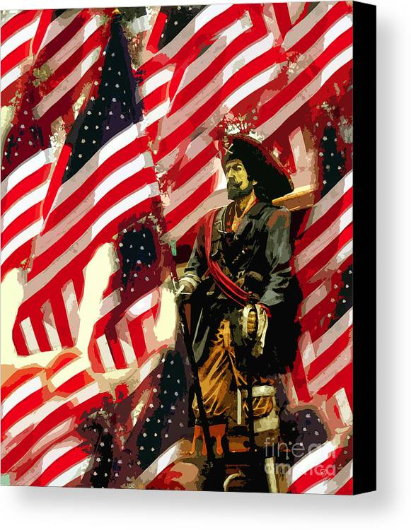 Pirate Canvas Print featuring the painting American Pirate by David Lee Thompson