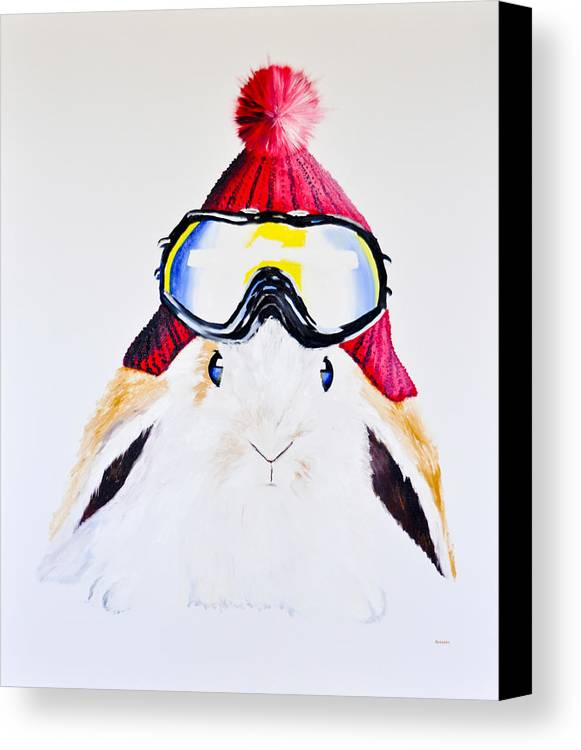 Rabbit Canvas Print featuring the painting Anitas Schneehas Karminrot by Eckhard Besuden