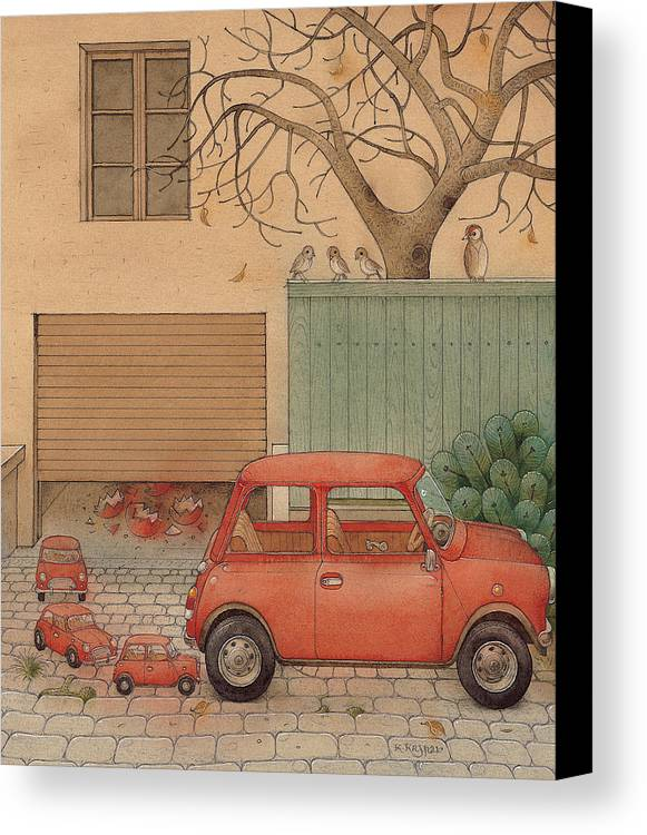 Car House Automobile Egg Red Tree Canvas Print featuring the painting Automobile by Kestutis Kasparavicius