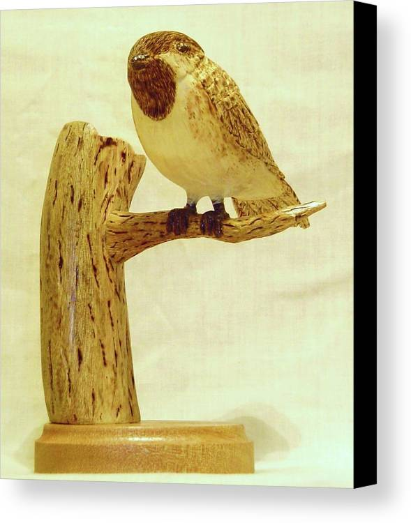 Woodcarving Canvas Print featuring the sculpture Black-capped Chickadee by Russell Ellingsworth