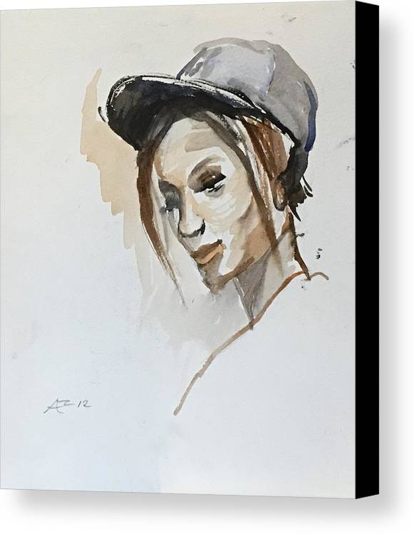 Canvas Print featuring the painting Black Woman With A Hat by Alejandro Lopez-Tasso