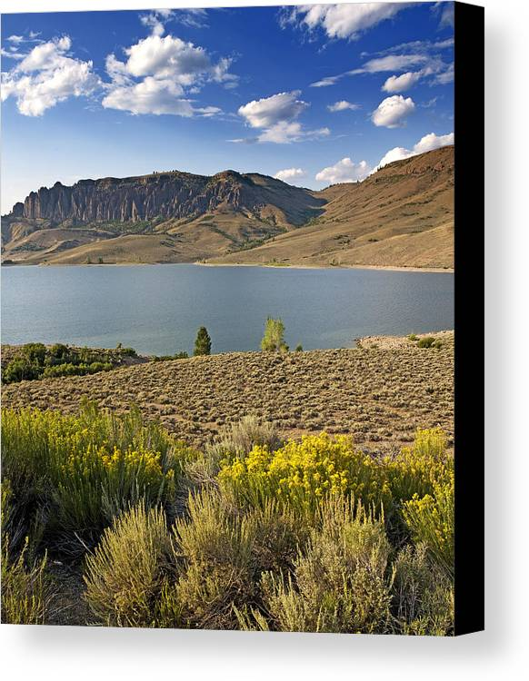 Blue Canvas Print featuring the photograph Blue Mesa Lake In Gunnison County Colorado by Brendan Reals